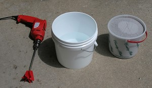 drill mixer, water, glaze powder