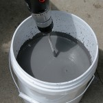 mixing glaze with the drill mixer
