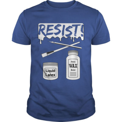 Resist! Pottery T-shirt with brushes, latex resist and wax resist