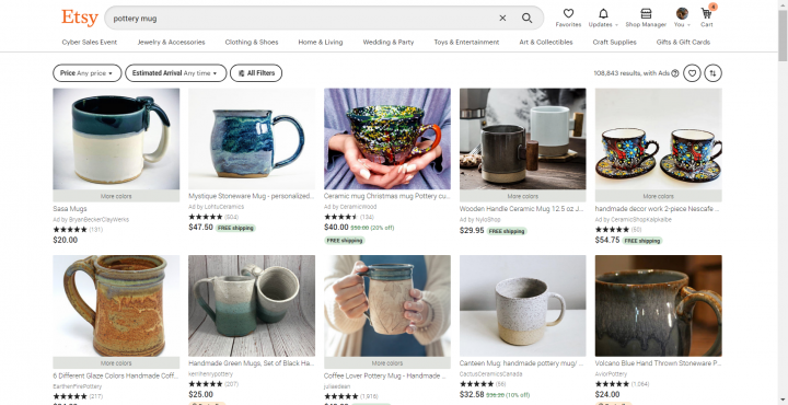 pottery gifts: mugs on Etsy